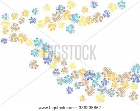Seashell Pattern, Marine Conch Falling Down Vector Background. Bivalve Mollusk Cockleshell, Oceanic