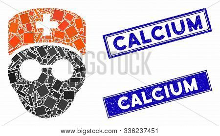 Mosaic Medic Head Pictogram And Rectangle Calcium Seal Stamps. Flat Vector Medic Head Mosaic Icon Of