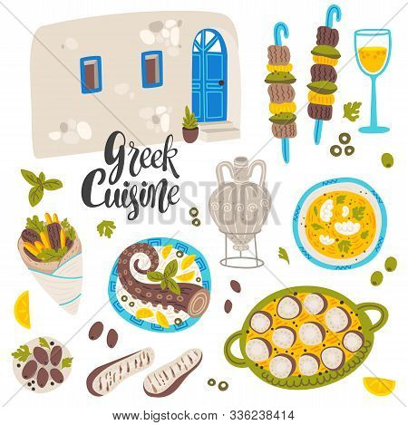 Mediterranean Cuisine Flat Banner Vector Template. Traditional Greek Food, Tasty Seafood. National C