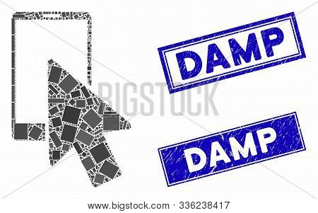 Mosaic Smartphone Arrow Pointer Icon And Rectangular Damp Seal Stamps. Flat Vector Smartphone Arrow