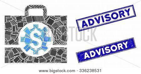Mosaic Bank Career Options Icon And Rectangle Advisory Seals. Flat Vector Bank Career Options Mosaic