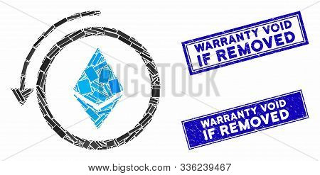 Mosaic Refund Ethereum Crystall Icon And Rectangular Warranty Void If Removed Stamps. Flat Vector Re