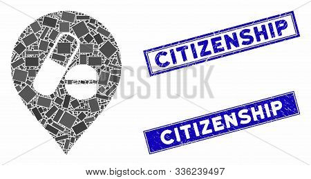 Mosaic Pharmacy Marker Icon And Rectangular Citizenship Seal Stamps. Flat Vector Pharmacy Marker Mos