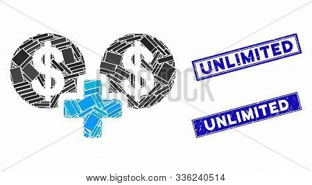 Mosaic Sum Money Icon And Rectangular Unlimited Seal Stamps. Flat Vector Sum Money Mosaic Icon Of Ra