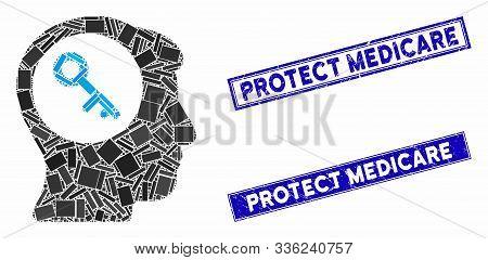 Mosaic Brain Key Icon And Rectangular Protect Medicare Seal Stamps. Flat Vector Brain Key Mosaic Ico