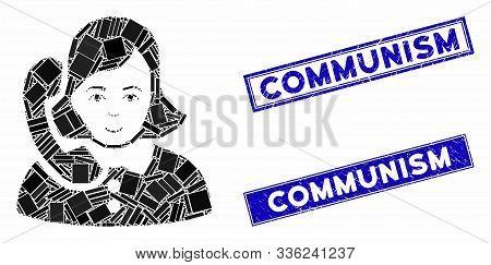 Mosaic Receptionist Icon And Rectangular Communism Seals. Flat Vector Receptionist Mosaic Icon Of Sc
