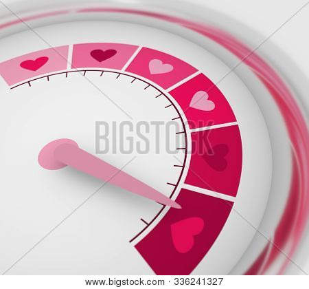 Color Scale With Arrow From Pink To Dark Pink. The Measuring Device Icon. Sign Tachometer, Speedomet