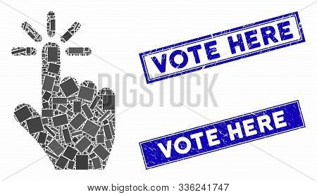 Mosaic Click Pictogram And Rectangle Vote Here Rubber Prints. Flat Vector Click Mosaic Pictogram Of