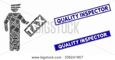 Mosaic Tax Officer Pictogram And Rectangular Quality Inspector Watermarks. Flat Vector Tax Officer M