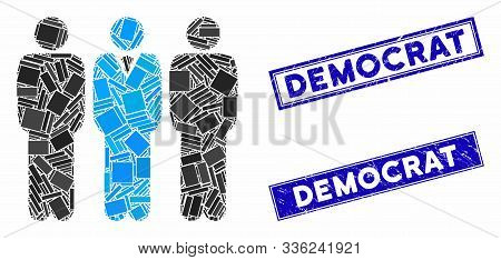 Mosaic Team Manager Icon And Rectangle Democrat Rubber Prints. Flat Vector Team Manager Mosaic Icon
