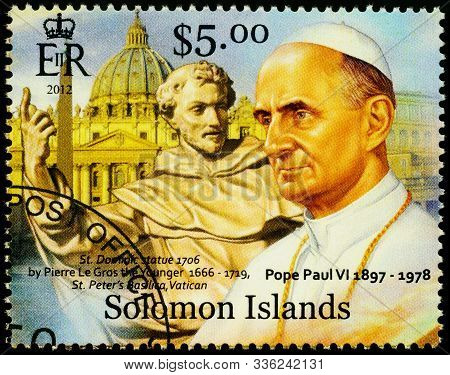 Moscow, Russia - November 26, 2019: Stamp Printed In Solomon Islands, Shows Portrait Of Pope Paul Vi
