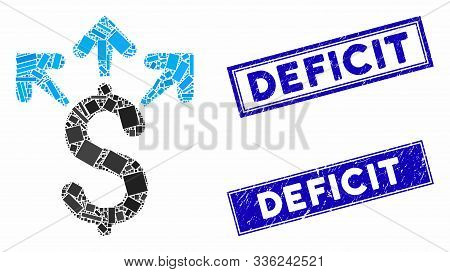 Mosaic Spend Money Pictogram And Rectangle Deficit Stamps. Flat Vector Spend Money Mosaic Pictogram