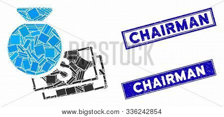 Mosaic Money Bag Pictogram And Rectangular Chairman Seals. Flat Vector Money Bag Mosaic Pictogram Of