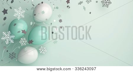 Winter Abstract Banner, Balloon, Snow Icon Confetti On Green. Copy Space Text. 3d Rendering Illustra