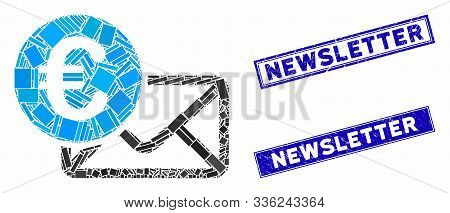 Mosaic Euro Message Icon And Rectangle Newsletter Seals. Flat Vector Euro Message Mosaic Icon Of Sca