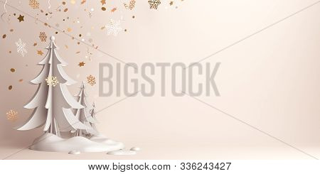 Winter Abstract Background, Happy New Year 2020, Pine, Spruce, Fir Tree Art Paper Cut, Snow On Backg