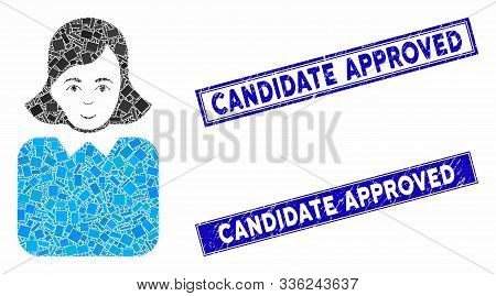Mosaic Bureaucrat Woman Icon And Rectangle Candidate Approved Stamps. Flat Vector Bureaucrat Woman M