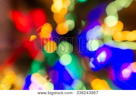 Defocused Abstract Background Image. Drawing With Light At Low Shutter Speed. X-mas New Year Party C