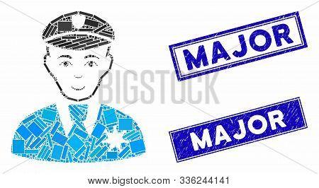 Mosaic Sheriff Pictogram And Rectangle Major Seal Stamps. Flat Vector Sheriff Mosaic Pictogram Of Ra