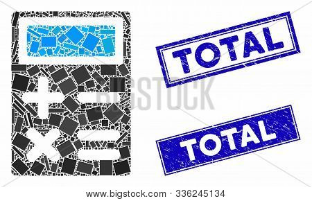 Mosaic Calculator Pictogram And Rectangle Total Rubber Prints. Flat Vector Calculator Mosaic Pictogr