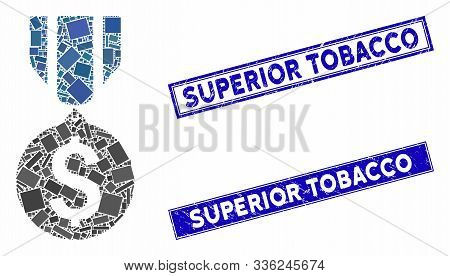 Mosaic Dollar Medal Pictogram And Rectangular Superior Tobacco Stamps. Flat Vector Dollar Medal Mosa