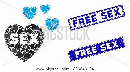Mosaic Sex Hearts Pictogram And Rectangular Free Sex Stamps. Flat Vector Sex Hearts Mosaic Pictogram