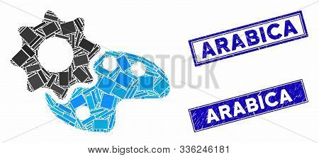 Mosaic Configure Palette Icon And Rectangle Arabica Stamps. Flat Vector Configure Palette Mosaic Ico
