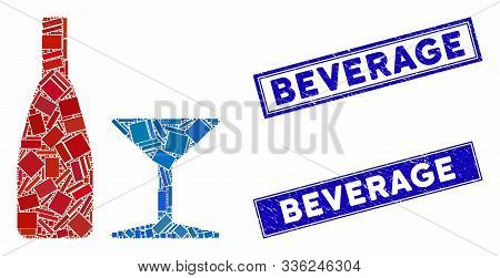 Mosaic Beverage Pictogram And Rectangular Beverage Stamps. Flat Vector Beverage Mosaic Pictogram Of
