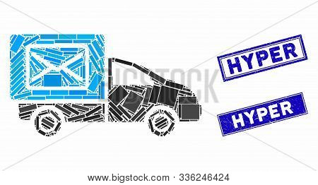 Mosaic Post Delivery Car Icon And Rectangular Hyper Stamps. Flat Vector Post Delivery Car Mosaic Ico