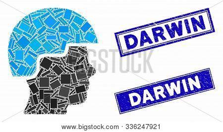 Mosaic Soldier Helmet Pictogram And Rectangle Darwin Seal Stamps. Flat Vector Soldier Helmet Mosaic