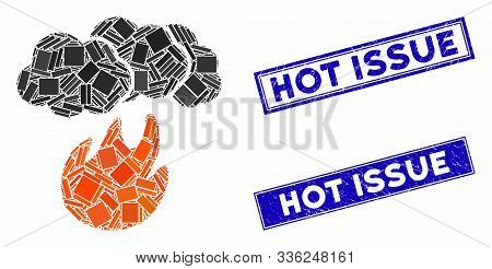 Mosaic Fire With Smoke Icon And Rectangle Hot Issue Seal Stamps. Flat Vector Fire With Smoke Mosaic