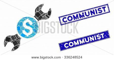 Mosaic Repair Cost Icon And Rectangle Communist Stamps. Flat Vector Repair Cost Mosaic Icon Of Rando