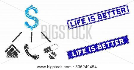 Mosaic Life Expenses Pictogram And Rectangle Life Is Better Seal Stamps. Flat Vector Life Expenses M