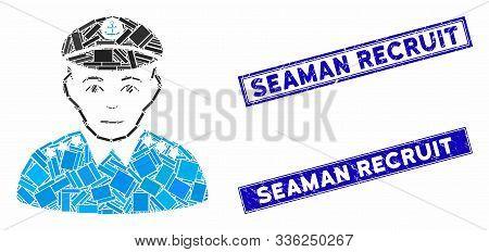Mosaic Military Captain Pictogram And Rectangular Seaman Recruit Rubber Prints. Flat Vector Military