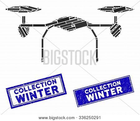 Mosaic Quadcopter Icon And Rectangle Collection Winter Seals. Flat Vector Quadcopter Mosaic Icon Of