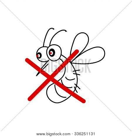 Vector Illustration Of Flying Mosquito. A Flock Of Funny Insect. Poster, Sale Of Funds Against Blood