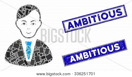 Mosaic Businessman Icon And Rectangular Ambitious Watermarks. Flat Vector Businessman Mosaic Pictogr