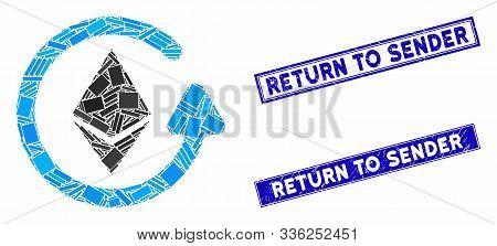 Mosaic Ethereum Refund Pictogram And Rectangular Return To Sender Seals. Flat Vector Ethereum Refund