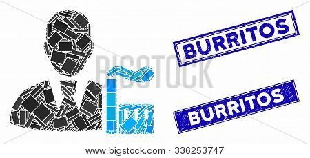 Mosaic Industry Capitalist Pictogram And Rectangle Burritos Stamps. Flat Vector Industry Capitalist