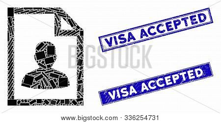 Mosaic User Page Pictogram And Rectangular Visa Accepted Watermarks. Flat Vector User Page Mosaic Pi