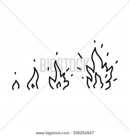 Bright Banner Sketch Hand Drawn Fire Set. Depicted Is A Small, Gradually Turning Into A Large Flame.