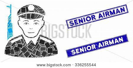 Mosaic soldier icon and rectangle Senior Airman rubber prints. Flat vector soldier mosaic icon of random rotated rectangular elements. Blue Senior Airman rubber seals with distress textures. poster
