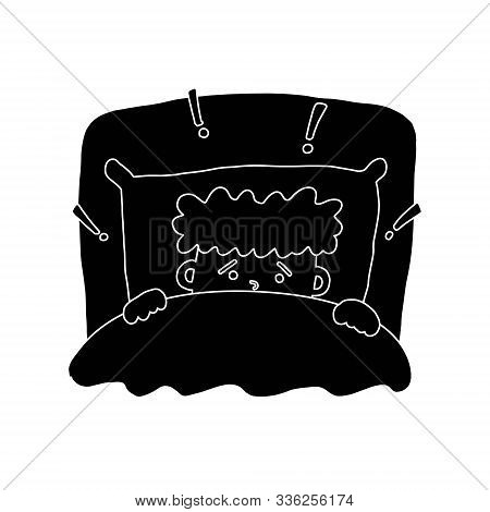 Informative Flyer Fright Boy Black Background. Sketching Cartoon Art Style, Curly-haired Kid Frowned