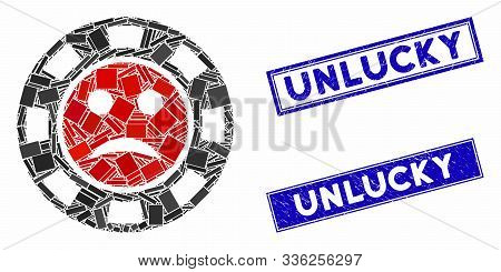 Mosaic Pity Casino Chip Pictogram And Rectangular Unlucky Seal Stamps. Flat Vector Pity Casino Chip