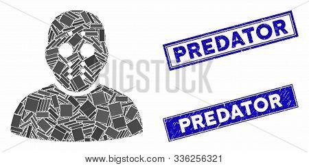 Mosaic Maniac Pictogram And Rectangle Predator Seal Stamps. Flat Vector Maniac Mosaic Pictogram Of S