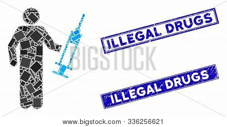 Mosaic Drug Dealer Icon And Rectangle Illegal Drugs Rubber Prints. Flat Vector Drug Dealer Mosaic Ic