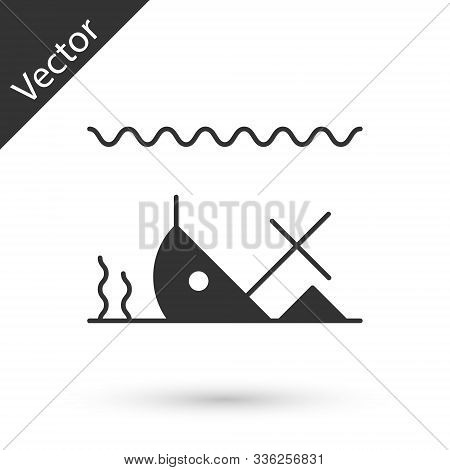 Grey Sunken Ship At The Bottom Of The Sea Icon Isolated On White Background. Vector Illustration