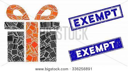 Mosaic Surprize Box Pictogram And Rectangular Exempt Stamps. Flat Vector Surprize Box Mosaic Pictogr