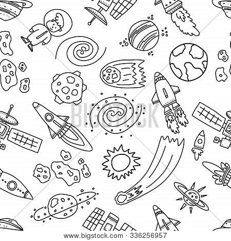 Informative Poster Space Chaos Objects Seamless. Space Outer Space Contains Huge Variety Objects, In