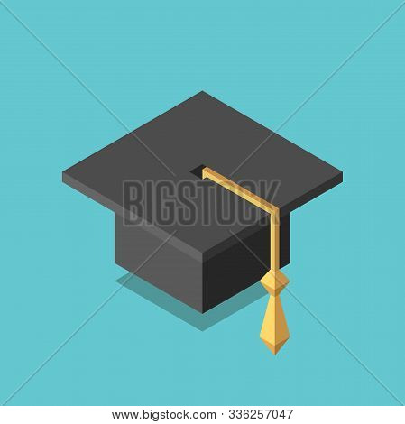 Isometric Square Academic Cap On Turquoise Blue. Education, Graduation, Knowledge And Intelligence C